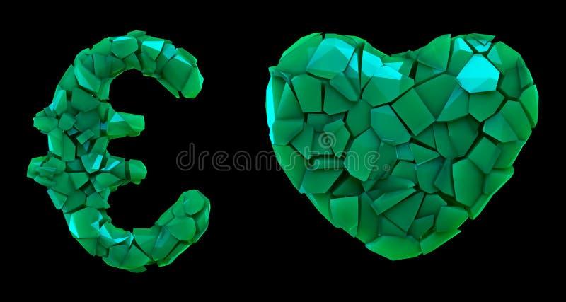Euro y corazón de la colección del símbolo hechos que de 3d rinde color verde de los cascos plásticos Colecci?n de s?mbolo pl?sti ilustración del vector