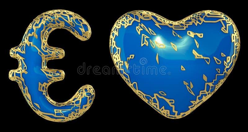 Euro y coraz?n de la colecci?n del s?mbolo hechos de met?lico brillante de oro Colección de oro que brilla metálica con la pintur ilustración del vector