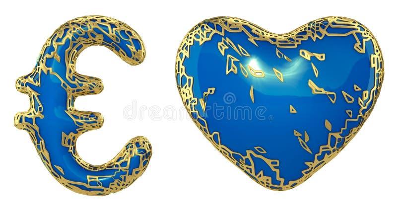 Euro y coraz?n de la colecci?n del s?mbolo hechos de met?lico brillante de oro Colección de oro que brilla metálica con la pintur libre illustration