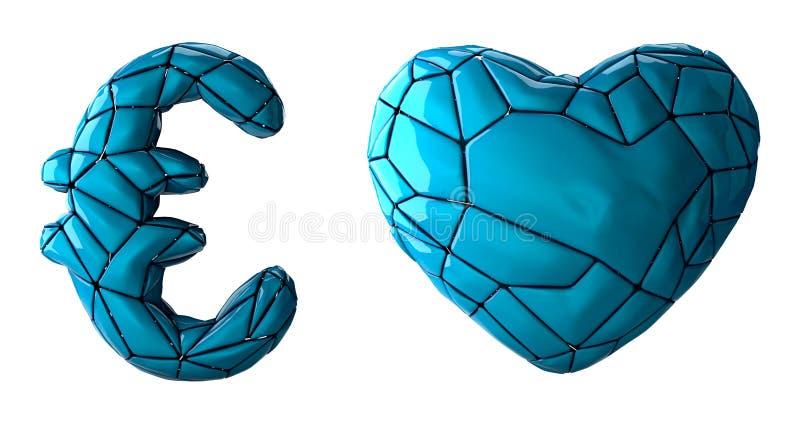 Euro y coraz?n de la colecci?n del s?mbolo hechos del pl?stico azul S?mbolos de la colecci?n de pl?stico azul del color del estil ilustración del vector