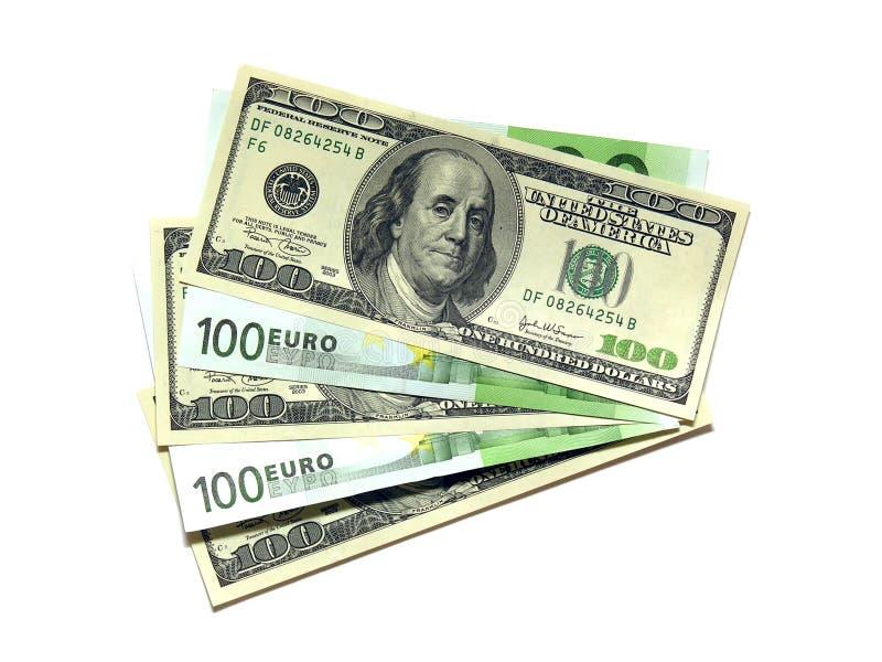 Euro y dólar. imagen de archivo libre de regalías