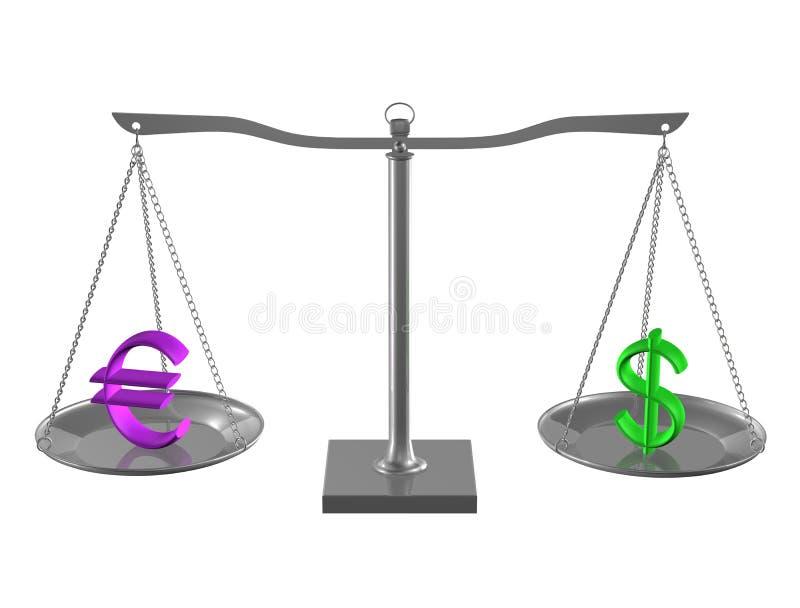 Euro y dólar en balance stock de ilustración