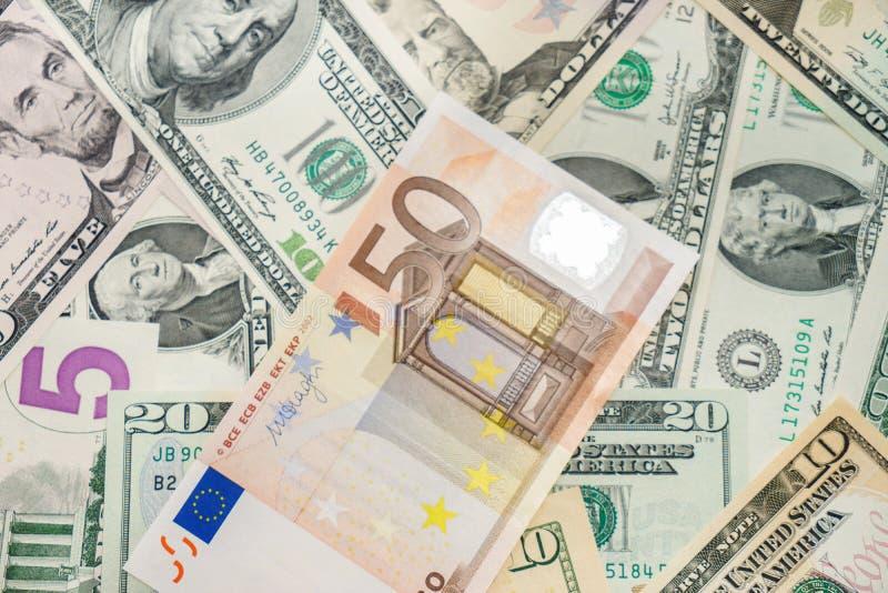 Euro y dólares foto de archivo libre de regalías