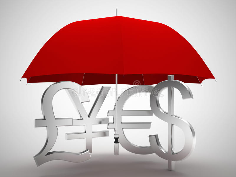 Euro Yen del dollaro martellano il simbolo dei soldi sotto l'ombrello illustrazione di stock