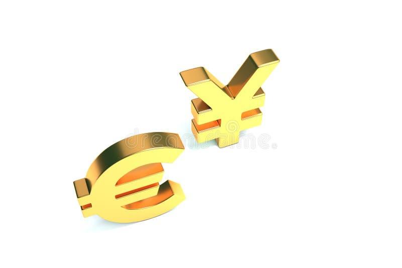 Euro-Yen Signs On White With-Beschneidungspfad stock abbildung