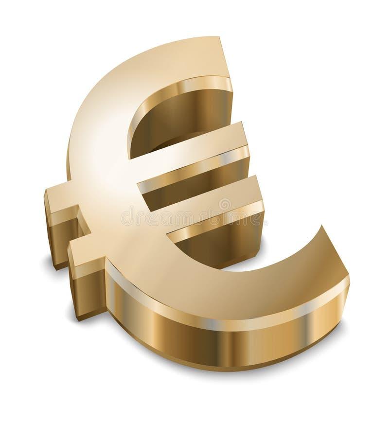 euro złoty znak ilustracja wektor
