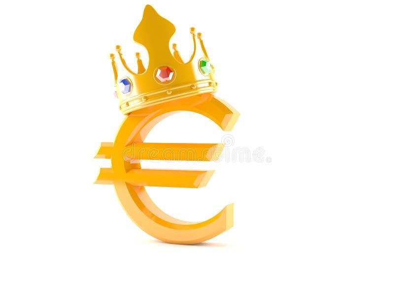 Euro z koroną royalty ilustracja