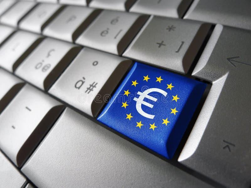 Euro znak I UE Komputerowy klucz zdjęcie royalty free