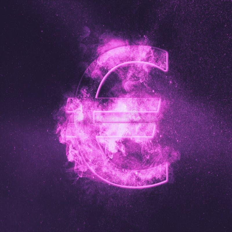 Euro znak, Euro symbol Monetarny waluta symbol Abstrakcjonistyczny nocnego nieba tło royalty ilustracja
