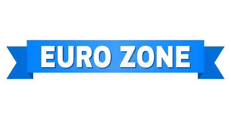 Blue Tape with EURO ZONE Caption. EURO ZONE text on a ribbon. Designed with white caption and blue tape. Vector banner with EURO ZONE tag vector illustration