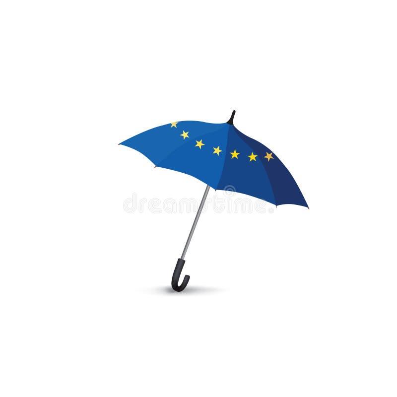 Euro zrzeszeniowej flaga barwiony parasol Podróży Europa mody znak ilustracji