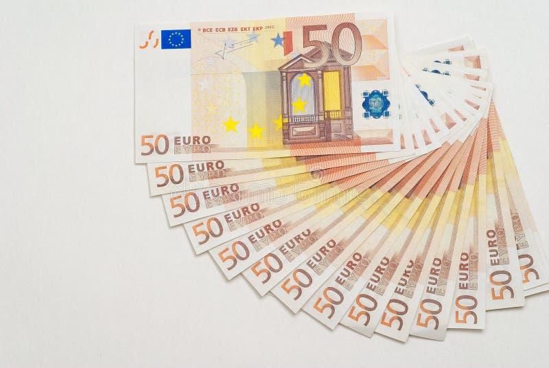 50 euroanmärkningar på vit royaltyfria foton