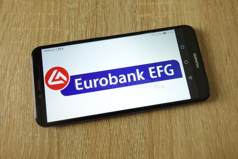 Eurobank het embleem van Ergasias SA op smartphone wordt getoond die stock fotografie