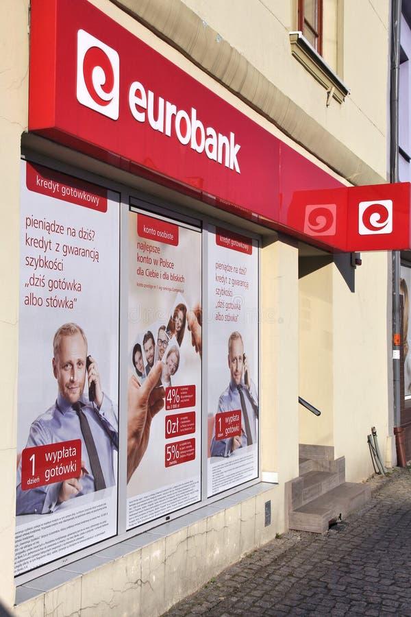 Eurobank, Societe Generale. CZELADZ, POLAND - MARCH 9, 2015: Eurobank branch in Czeladz, Poland. Eurobank is part of Societe Generale. SG is 6th largest bank stock photo