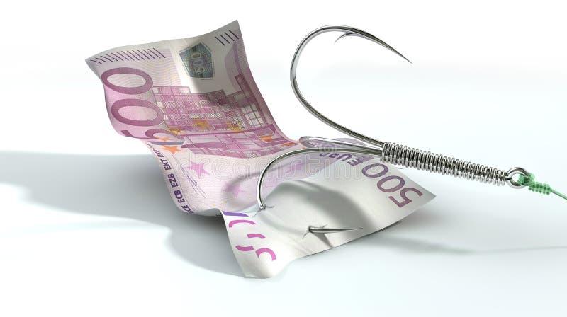 Eurobanknote angelockter Haken stockbild