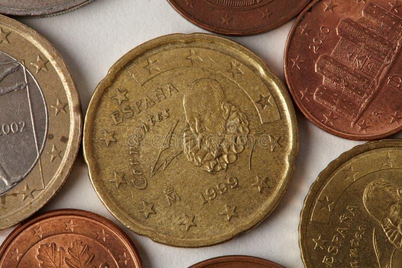 Eurocent myntar makrosikt Åldrig closeup för pengarEspana Spanien valuta som textureras inrista etsning på pappers- bakgrund arkivfoton
