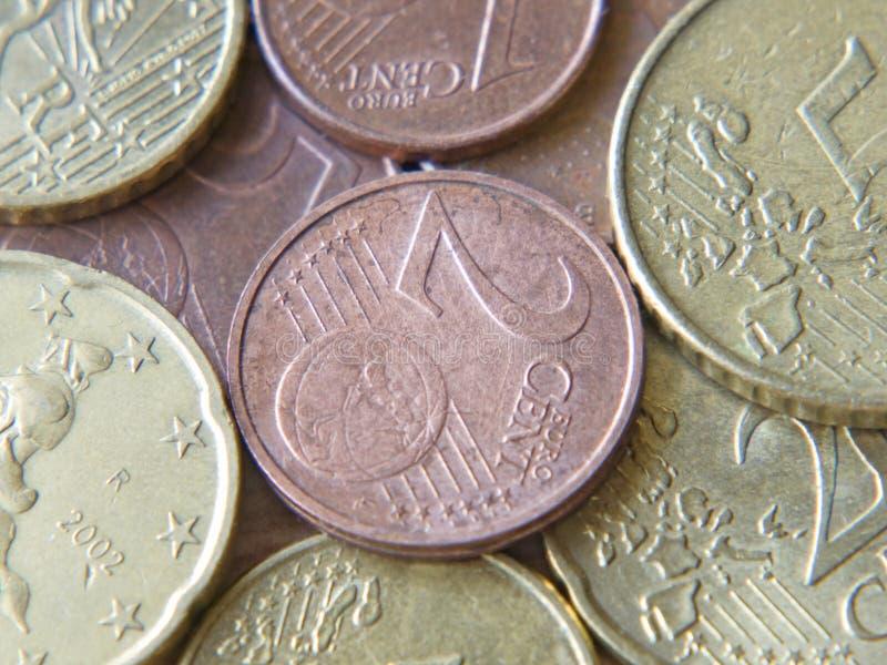 Eurocentmünzen Nahaufnahme genommen. Hintergrund. lizenzfreie stockfotos