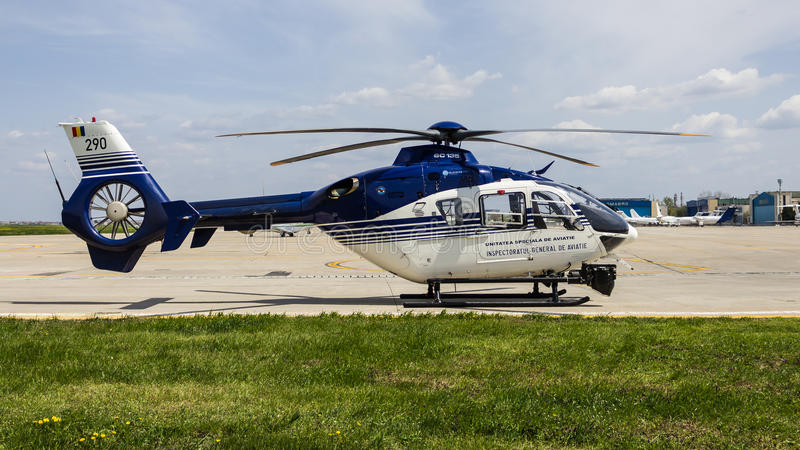 Eurocopter EC135 P2 - CN 0290. Eurocopter EC135 P2 (Romanian Police) - Construction Number 0290, Date of Manufacture 2003 stock photos