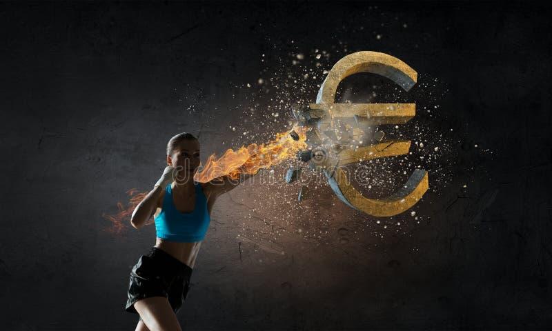 Eurocurrecynedgång Blandat massmedia arkivbild