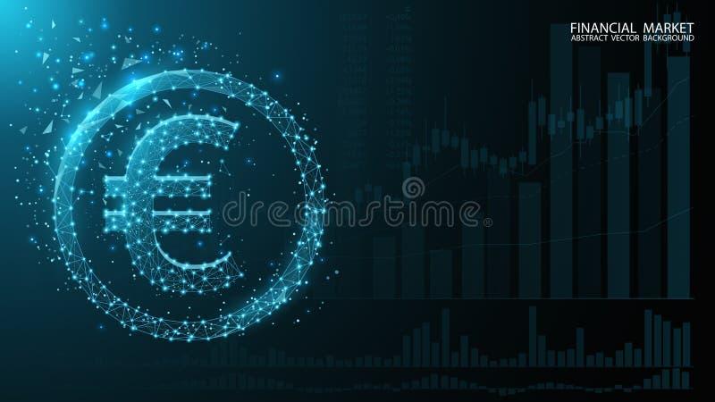 Eurodivisa troca Citações da moeda das cartas Euro- ?cone Baixa imagem poli Escuro - fundo futurista azul ilustração stock