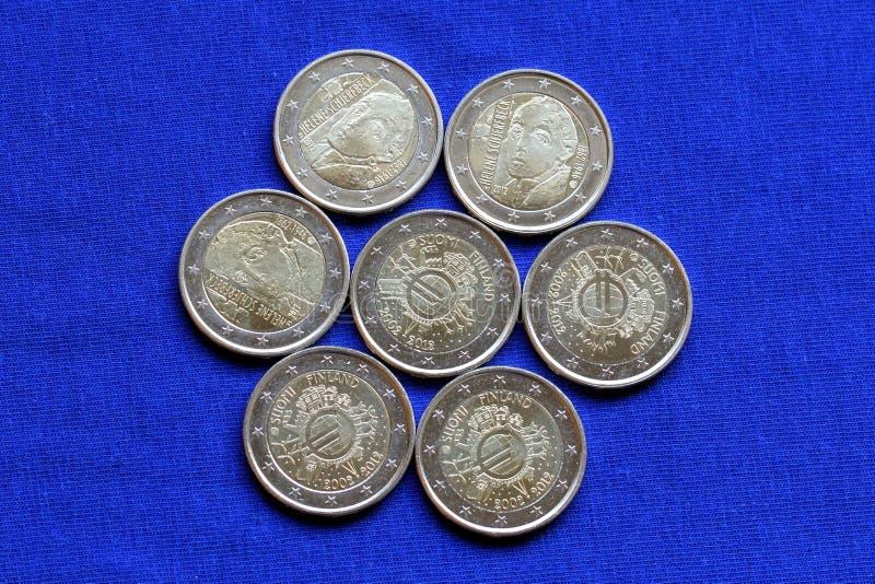 Euroen myntar utfärdat i Finland arkivbild