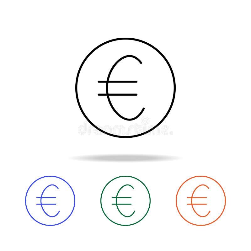 euroencentmyntsymbol Beståndsdelar av den enkla rengöringsduksymbolen i mång- färg Högvärdig kvalitets- symbol för grafisk design stock illustrationer