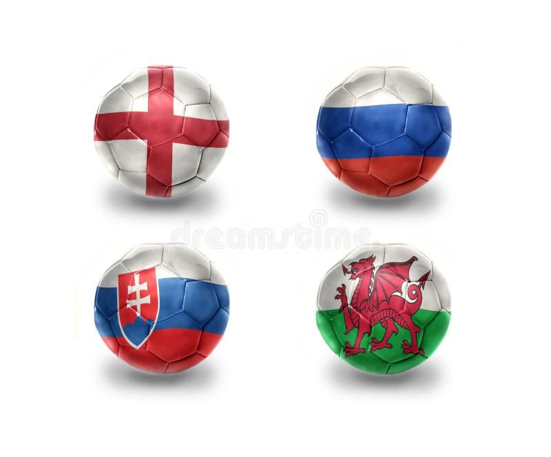 Eurogruppe B Fußballbälle mit Staatsflaggen von England, Russland, Slowakei, Wales vektor abbildung