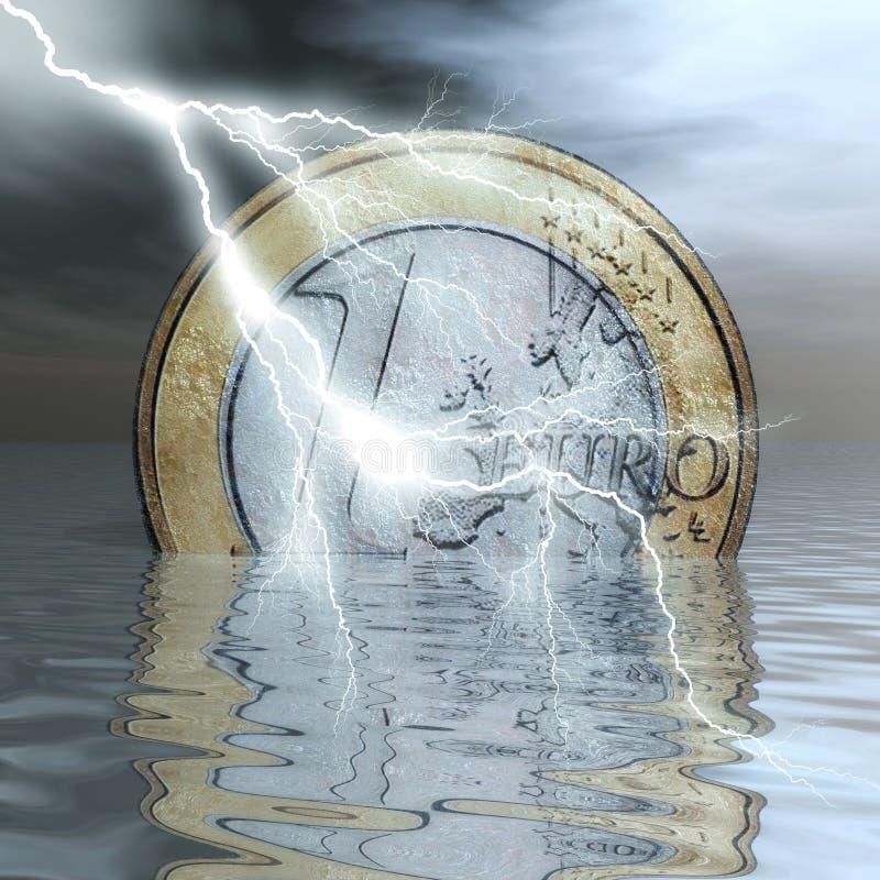 Eurokris royaltyfri illustrationer