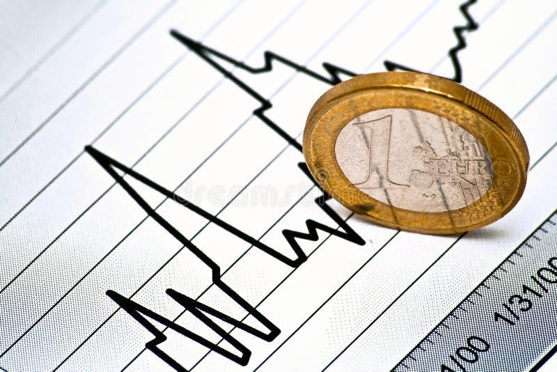 Euromünze auf Diagramm stockfoto
