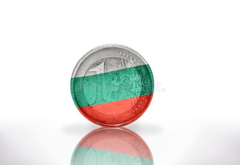 Euromünze mit bulgarischer Flagge stockbilder