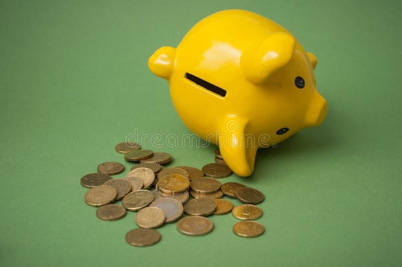 Euromünzen, die vom gelben Sparschwein auf grünem Hintergrund fallen lizenzfreie stockbilder