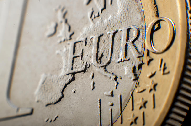 Euromünzenmakro lizenzfreie stockbilder