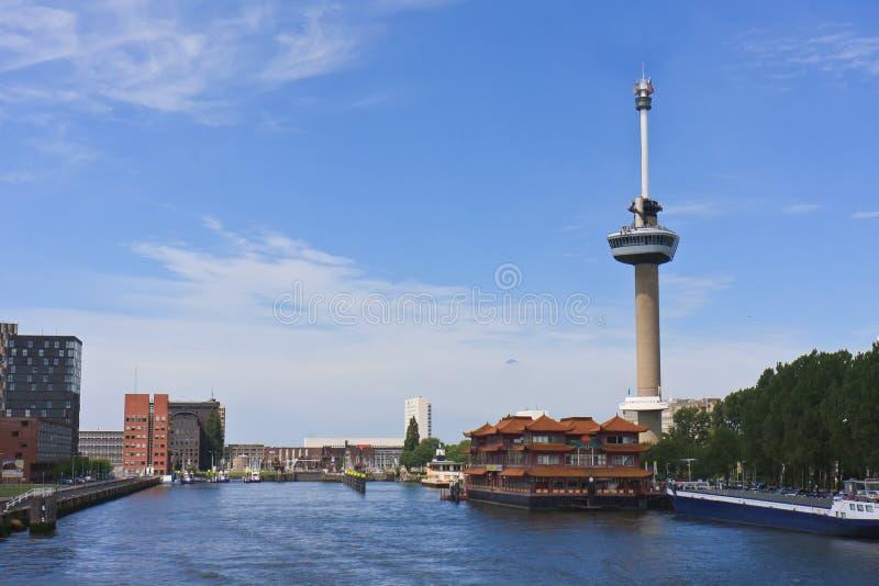 Euromast Kontrollturm in der Stadt von Rotterdam lizenzfreies stockfoto
