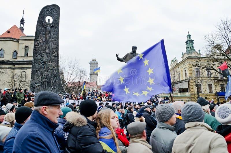 Euromaydan在Lvov 库存照片