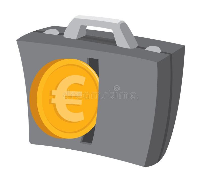 Euromynt eller skrivande in affärsportfölj för pengar royaltyfri illustrationer