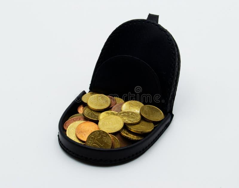 Euromynt i en vallet arkivfoto