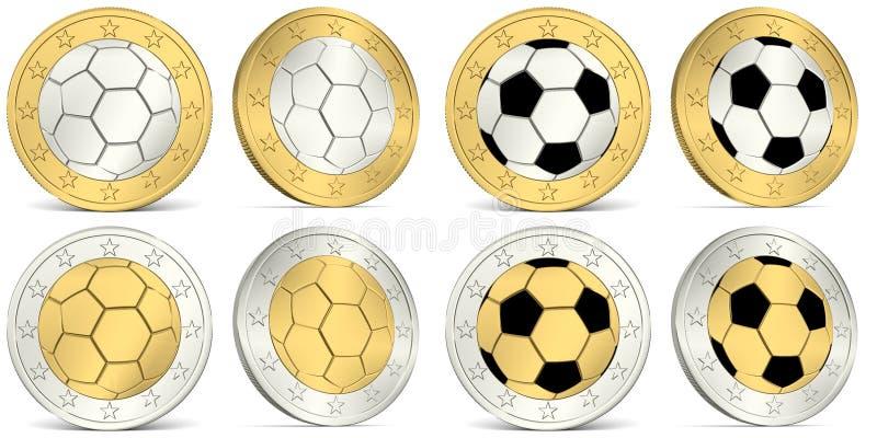 Euromynt med fotbollbollen vektor illustrationer