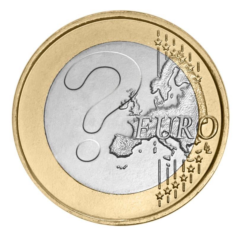Euromynt med frågefläcken arkivfoton