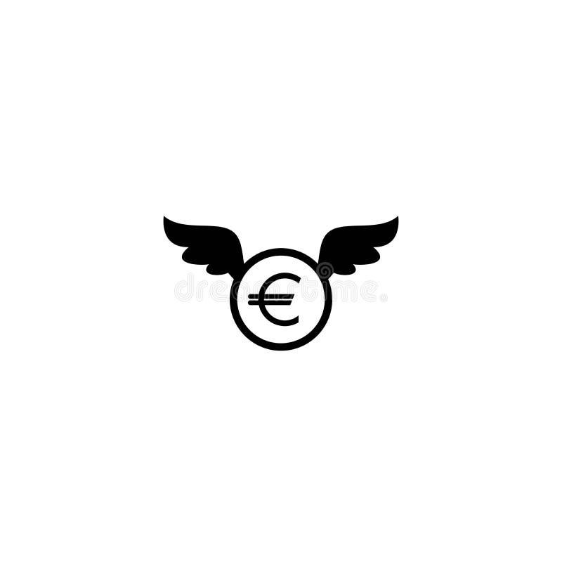Euromynt med vingar Sv?rta den plana symbolen som isoleras p? vit bakgrund Flygpengar royaltyfri illustrationer