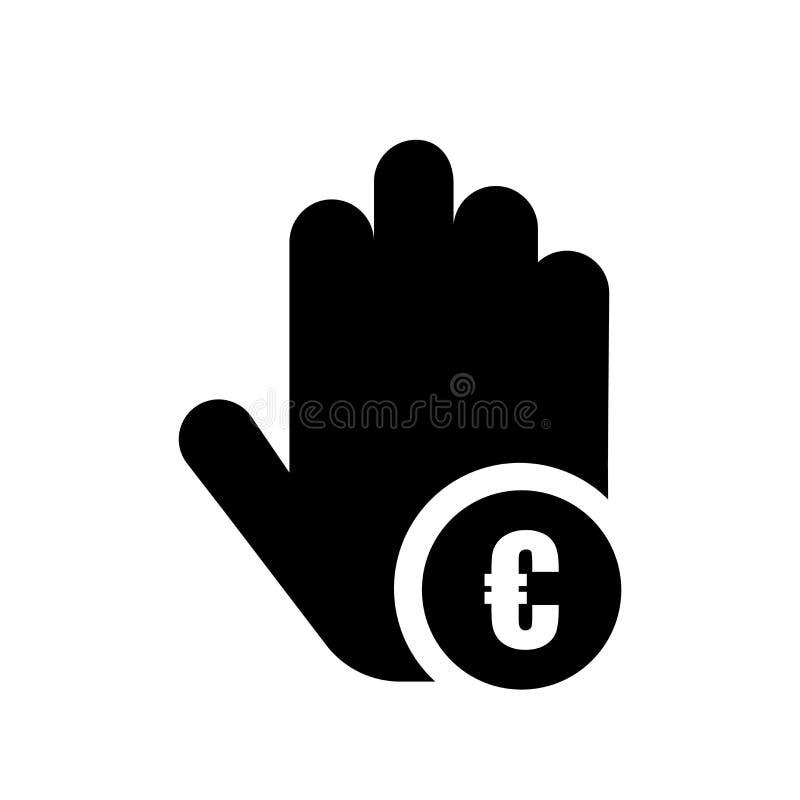 Euromynt på tecken och symbol för handsymbolsvektor som isoleras på vit bakgrund, euromynt på handlogobegrepp vektor illustrationer