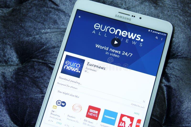 Euronews mobil app royaltyfri fotografi