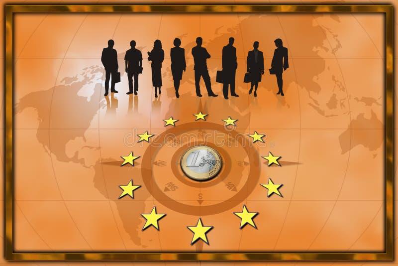 Europäergeschäftshintergrund-Münzeneuro stock abbildung