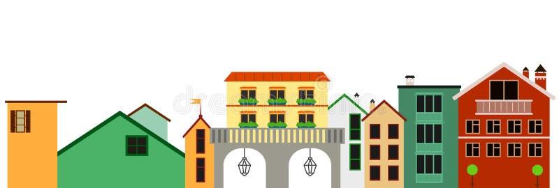 Europäische bunte panotamic Stadtillustration Vektor lokalisierte Reihe von Gebäuden vektor abbildung