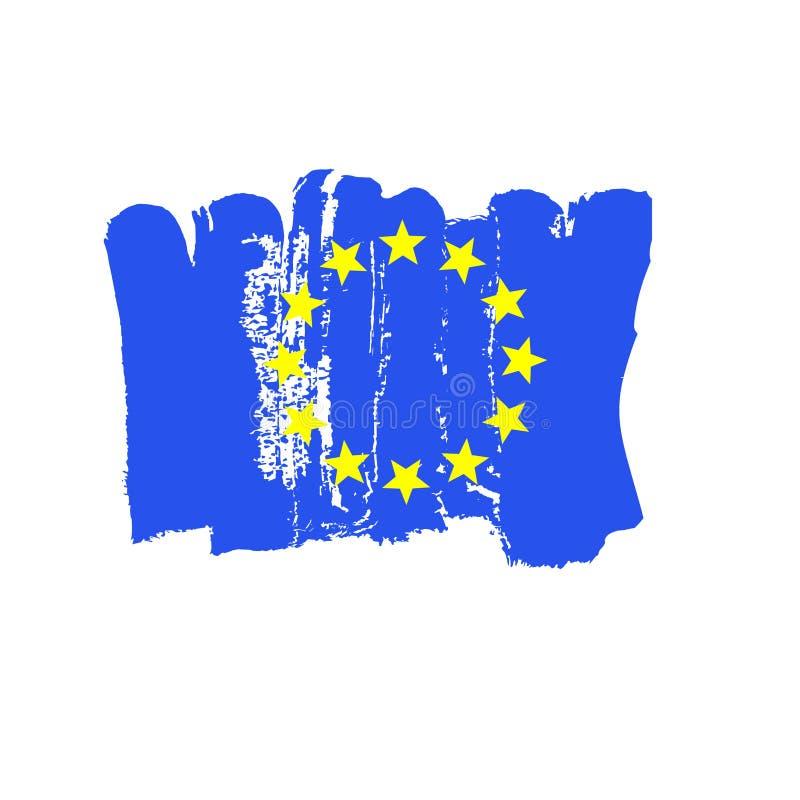 Europäische Flagge gemalt durch Bürstenhandfarben Kunst-Eu-Flagge Aquarellflagge von Europa Kunstflagge der Europäischen Gemeinsc lizenzfreie stockfotos