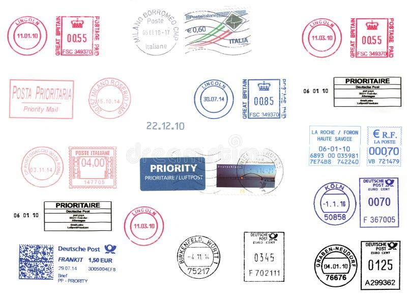 Europäische Frankiermaschinen lokalisiert über Weiß stockfoto