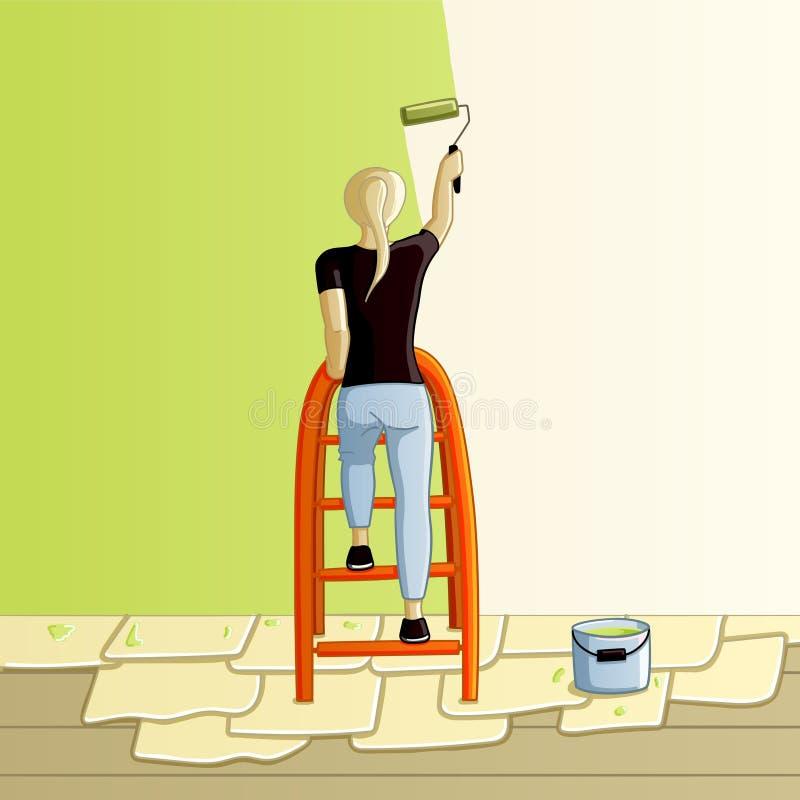 Europäische Frau des Wandbilds lizenzfreie abbildung