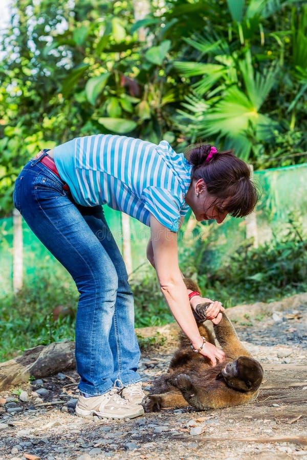 Europäische Frau, die mit einem verwaisten jungen Affen spielt lizenzfreies stockfoto