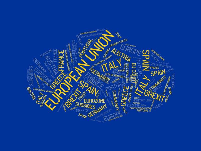 EUROPÄISCHE GEMEINSCHAFT - Bild mit den Wörtern verbunden mit dem Thema EUROPEAN_UNION, Wortwolke, Würfel, Buchstabe, Bild, Illus vektor abbildung