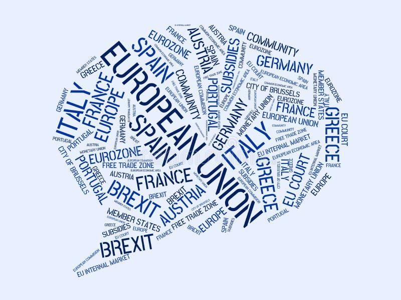 EUROPÄISCHE GEMEINSCHAFT - Bild mit den Wörtern verbunden mit dem Thema EUROPEAN_UNION, Wortwolke, Würfel, Buchstabe, Bild, Illus stock abbildung