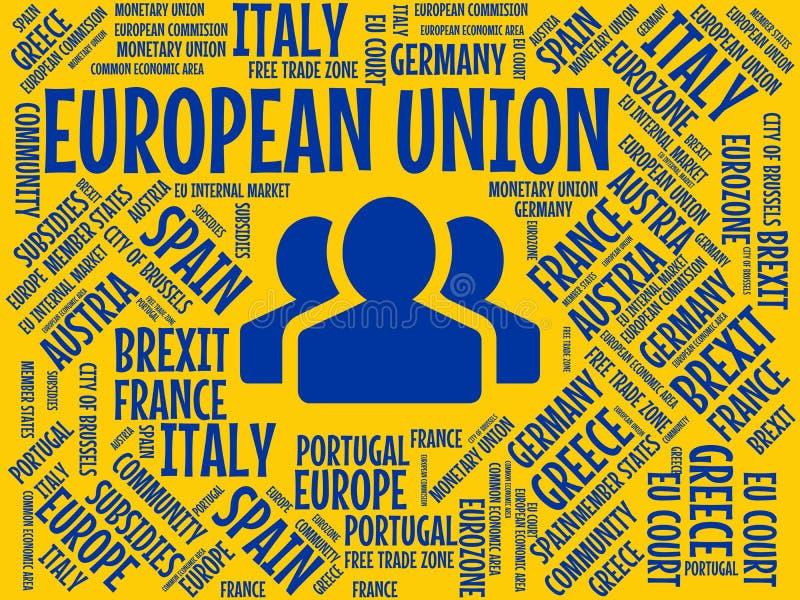 EUROPÄISCHE GEMEINSCHAFT - Bild mit den Wörtern verbunden mit dem Thema EUROPEAN_UNION, Wortwolke, Würfel, Buchstabe, Bild, Illus lizenzfreie abbildung